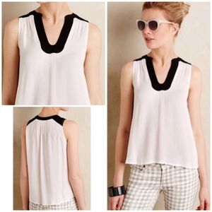 Anthropologie Maeve Enna Split Neck Tank Blouse 10